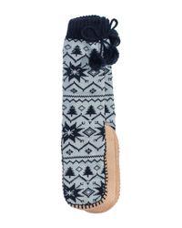 Muk Luks | Blue Slipper Socks With Pompoms | Lyst