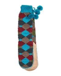 Muk Luks - Blue Slipper Socks With Pompoms - Lyst