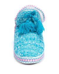 Muk Luks - Blue Amira Faux Fur Lined Slipper - Lyst