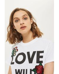 TOPSHOP - White Love Will Save Us Applique Tee - Lyst