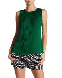 Trina Turk - Green Zephyr Pleated Silk Blend Blouse - Lyst