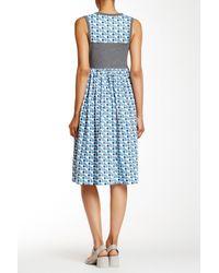 Orla Kiely - Blue Poppy Cat Gathered Dress - Lyst