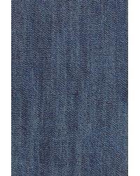 Caslon   Blue Caslon Ruffle Sleeve Chambray Top   Lyst