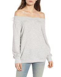 Treasure & Bond - Gray Off The Shoulder Sweatshirt - Lyst