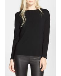 MILLY | Black Merino Wool Pullover | Lyst