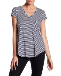 Heather by Bordeaux | Blue Striped V-neck Tee | Lyst