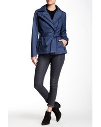 Kenneth Cole | Blue Printed Belted Rain Coat | Lyst