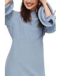 TOPSHOP - Blue Ruched Asymmetrical Midi Dress - Lyst
