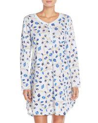 Carole Hochman - Blue Print Cotton Sleep Shirt - Lyst