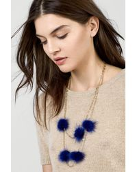 BaubleBar - Blue Loulou Genuine Marten Fur Pompom Layered Necklace - Lyst