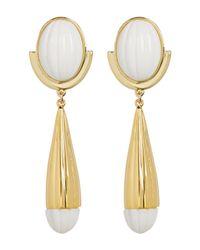 Trina Turk - Multicolor Beveled Cabochon Resin Detail Drop Earrings - Lyst
