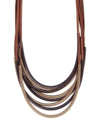 Kenneth Jay Lane - Brown Multi Strand Mesh Statement Necklace - Lyst