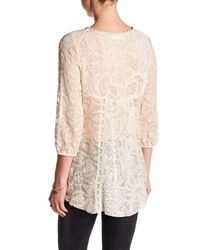 Johnny Was - Natural Embroidery Contrast Panel Silk Blend Blouse - Lyst