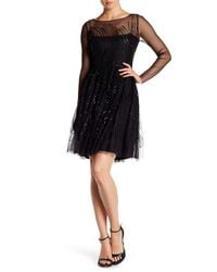 Vera Wang Lavender - Black Sequined Fit & Flare Dress - Lyst