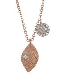 Meira T - Metallic 14k Two-tone Gold Diamond Leaf Necklace - 0.14 Ctw - Lyst
