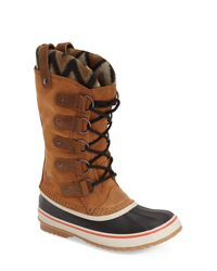 Sorel - Brown Caribou Suede And Waterproof Rubber Boots - Lyst