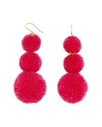 BaubleBar - Pink Pompom Triple Drop Earrings - Lyst
