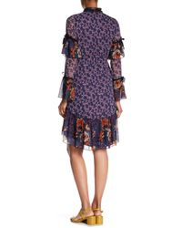 Anna Sui Multicolor Birds & Roses Crepe Dress