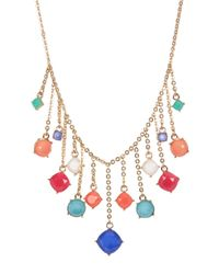 Carolee | Metallic Stone Charm Frontal Necklace | Lyst