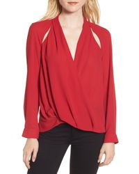 Trouvé - Red Trouv? Cutout Surplice Top - Lyst