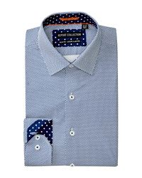 Report Collection - Blue Geo Print Slim Fit Dress Shirt for Men - Lyst