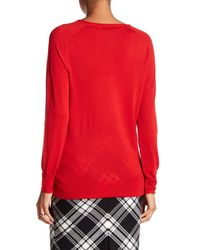 Trina Turk | Red Evangeline Wool V-neck Sweater | Lyst