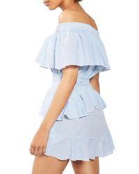 TOPSHOP | Blue Bardot Ruffle Stripe Dress | Lyst