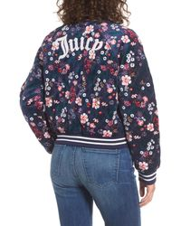 Juicy Couture - Blue Floral Quilted Velour Bomber Jacket - Lyst