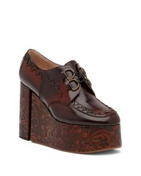 Vivienne Westwood - Brown Tooled Leather Platform Oxford - Lyst