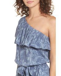 Mimi Chica - Blue Ruffle One-shoulder Romper - Lyst