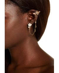 Betsey Johnson - Brown Bee Ear Cuff & Flower Stud Earrings - Lyst