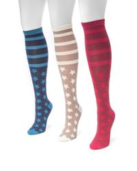 Muk Luks - Multicolor Jacquard Knee High Socks - Pack Of 3 - Lyst