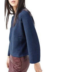 TOPSHOP - Blue Diamond Kimono Sleeve Sweater - Lyst