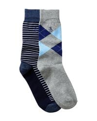 Original Penguin - Blue Kennedy & Balboa Crew Socks - Pack Of 2 for Men - Lyst