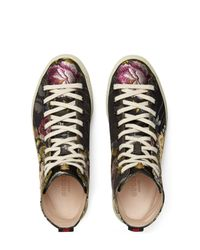 Gucci - Black Floral High Top Sneaker for Men - Lyst