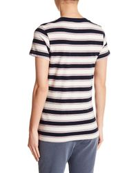 Stateside - Blue Striped Crew Neck Tee - Lyst