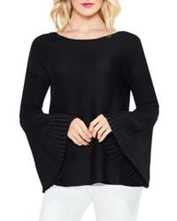 Vince Camuto - Black Sparkly Bell Sleeve Sweater - Lyst