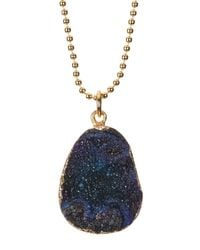 BaubleBar - Blue Druzy Ball Chain Pendant Necklace - Lyst
