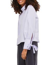 TOPSHOP - Purple High Neck Tie Sleeve Blouse - Lyst