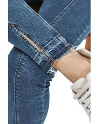 TOPSHOP - Moto Blue Split Hem Jamie Jeans - Lyst