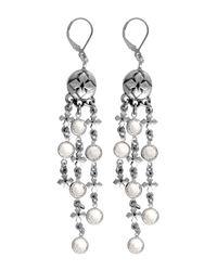 King Baby Studio - Multicolor Mb Cross 3 Strand Swarovski Crystal Embellished Earrings - Lyst