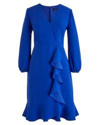 J.Crew - Blue Drapey Ruffle Front Dress - Lyst