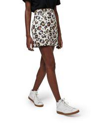 TOPSHOP - Green Leopard Jacquard Miniskirt - Lyst