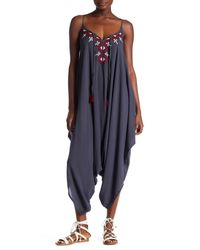 Love Stitch | Blue Embroidered Tie Front Jumpsuit | Lyst