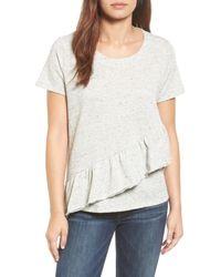 Caslon - Gray Caslon Asymmetrical Ruffle Short Sleeve Sweatshirt - Lyst