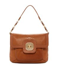 Longchamp | Brown Gatsby Croc Embossed Leather Shoulder Bag | Lyst