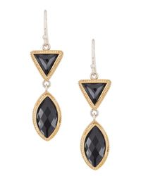 Anna Beck - Metallic 18k Gold Plated Sterling Silver Hematite Double Drop Earrings - Lyst