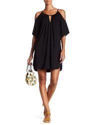 Fifteen Twenty - Black Cold Shoulder Keyhole Dress - Lyst