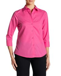 Foxcroft - Pink 3/4 Length Sleeve Shaped Fit Shirt - Lyst