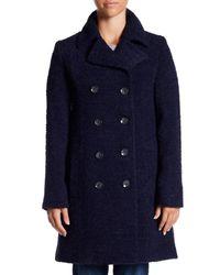 Fleurette - Blue Double Breasted Wool Coat - Lyst